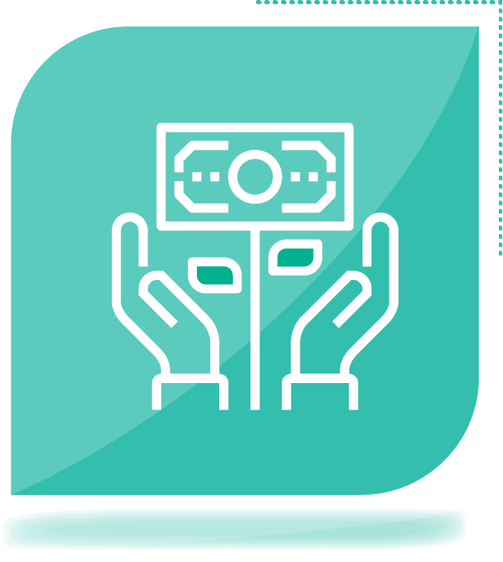 icon of hands holding money plant