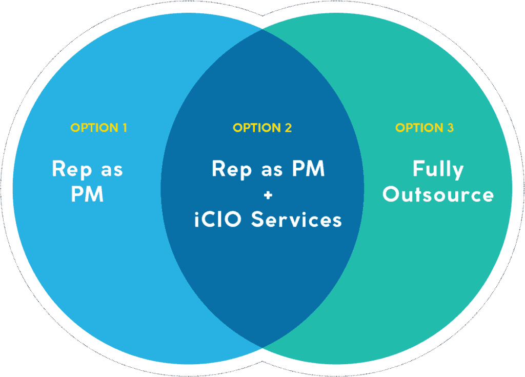 Option 1: Rep as PM. Option 2: Rep as PM plus iCIO Services. Option 3: Fully Outsource